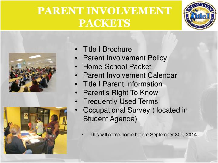 Parent Involvement Packets