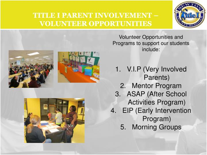 Title I Parent Involvement – Volunteer opportunities