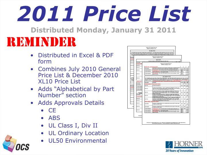 2011 Price List