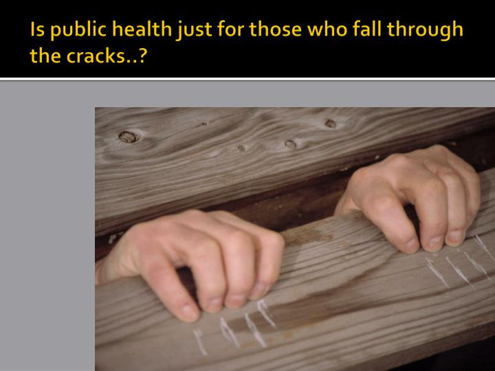 Is public health just for those who fall through the cracks..?