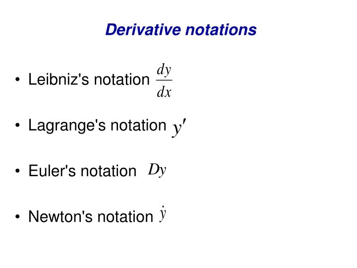 Derivative notations