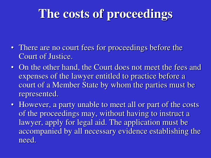 The costs of proceedings