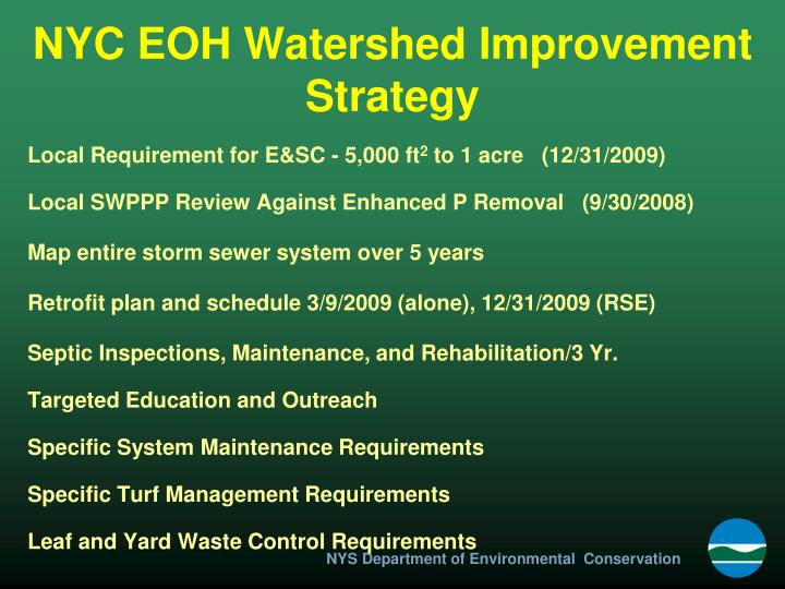 NYC EOH Watershed Improvement Strategy