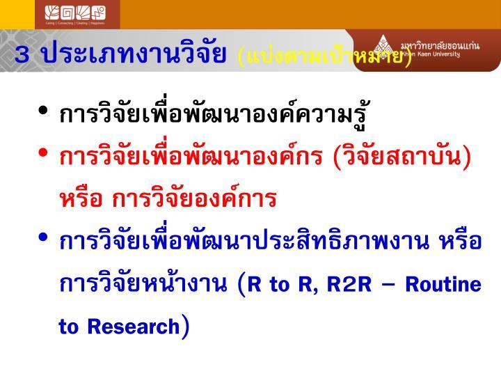 3 ประเภทงานวิจัย
