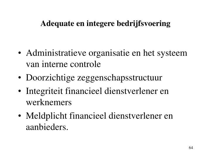 Adequate en integere bedrijfsvoering