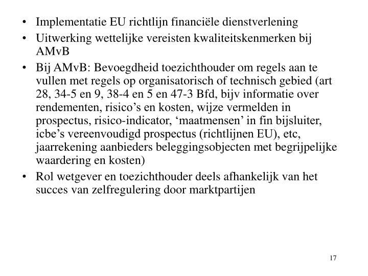 Implementatie EU richtlijn financiële dienstverlening
