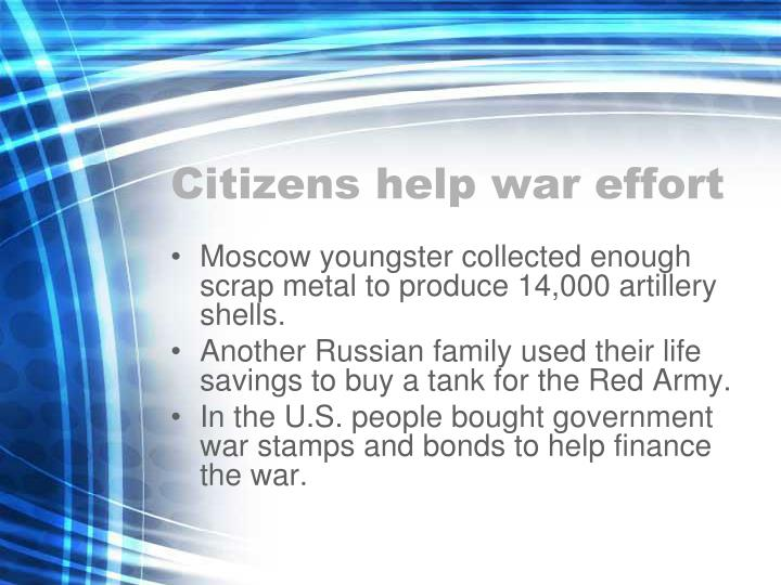 Citizens help war effort