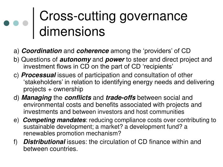 Cross-cutting governance dimensions