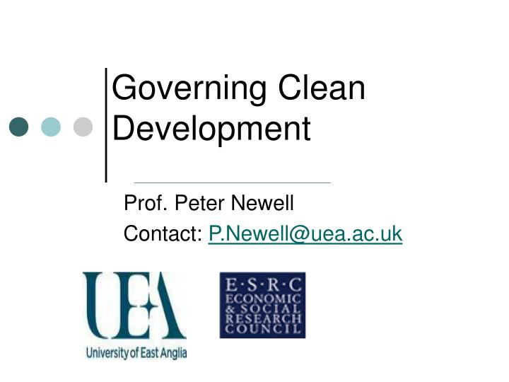 Governing clean development