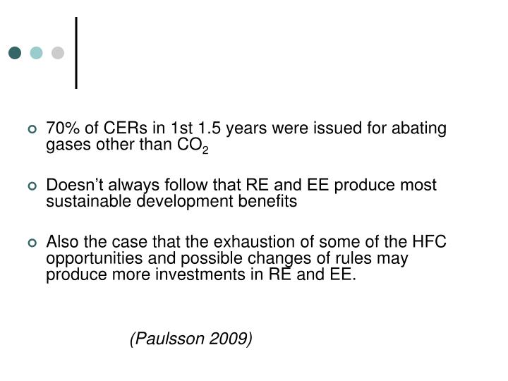 70% of CERs in 1st 1.5 years were issued for abating gases other than CO