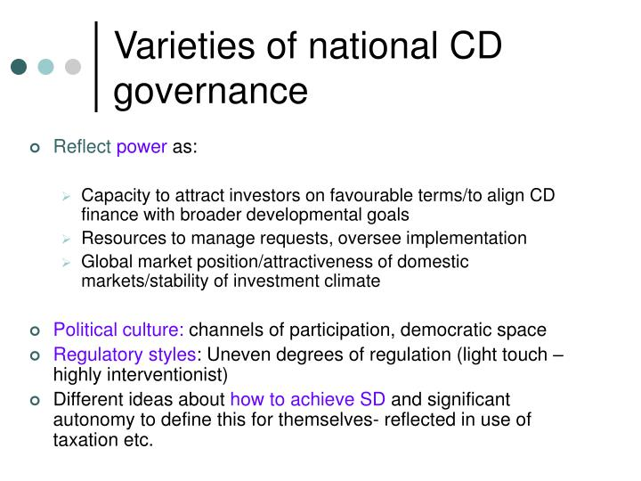 Varieties of national CD governance