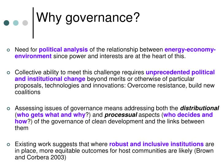 Why governance?