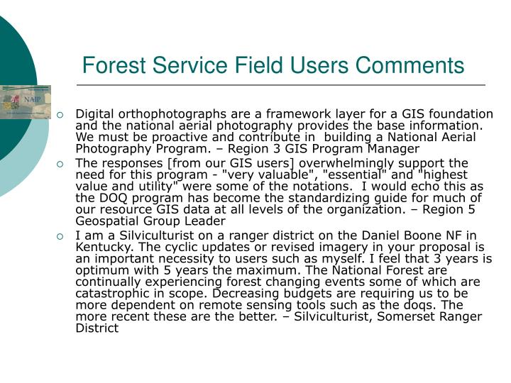 Forest Service Field Users Comments