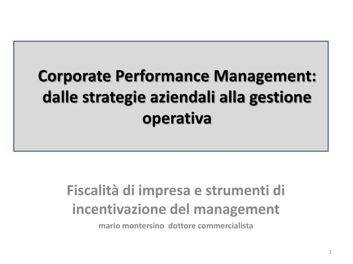 Corporate Performance Management: