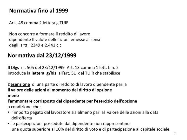 Normativa dal 23/12/1999
