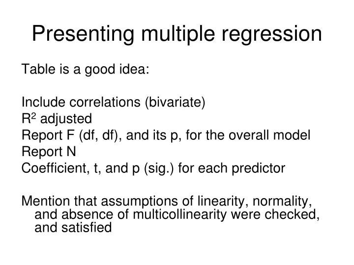 Presenting multiple regression