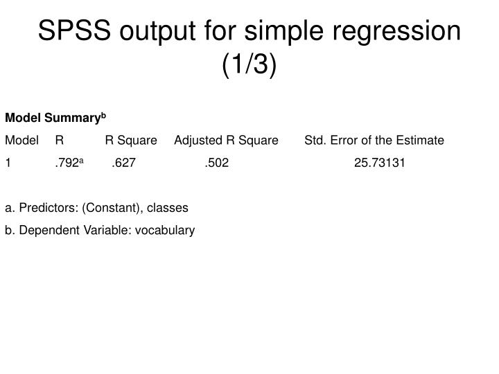SPSS output for simple regression (1/3)