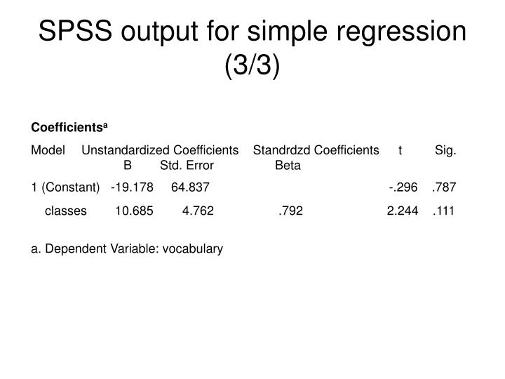 SPSS output for simple regression (3/3)