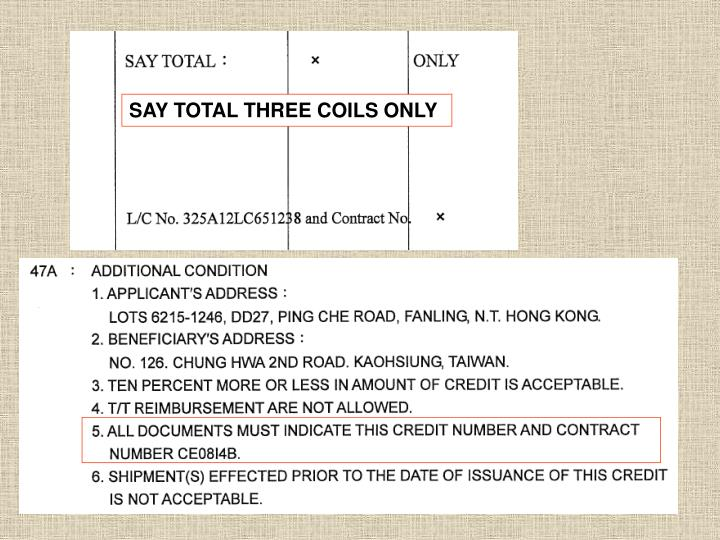 SAY TOTAL THREE COILS ONLY