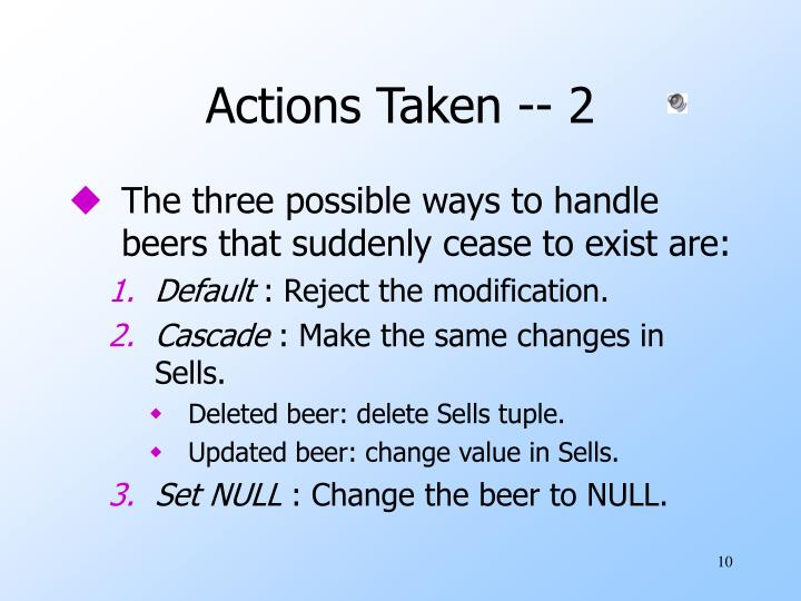 Actions Taken -- 2