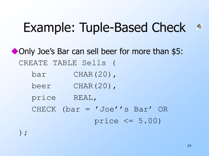 Example: Tuple-Based Check
