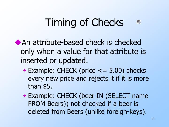 Timing of Checks