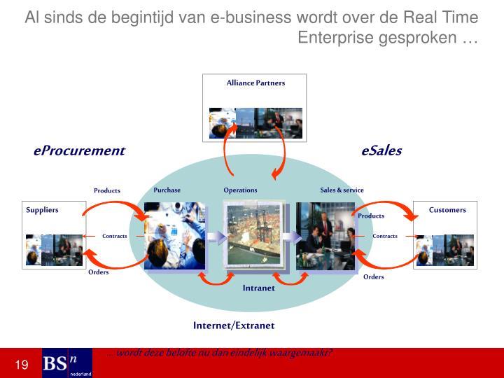 Al sinds de begintijd van e-business wordt over de Real Time Enterprise gesproken …