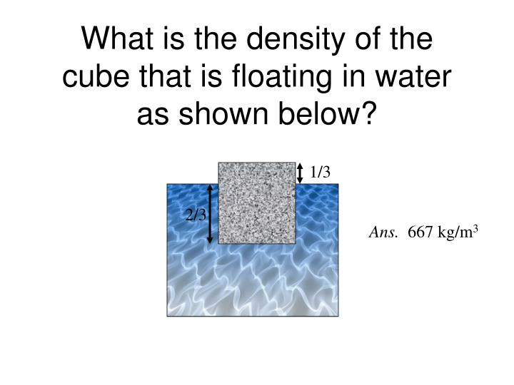 What is the density of the cube that is floating in water as shown below?