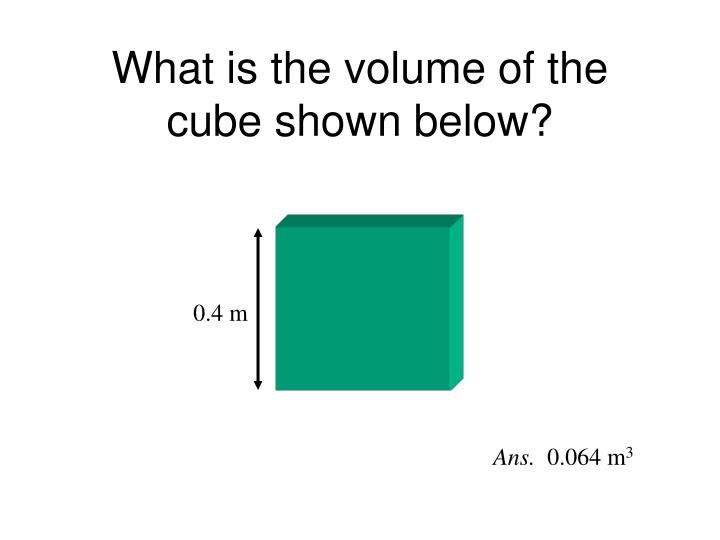 What is the volume of the cube shown below?