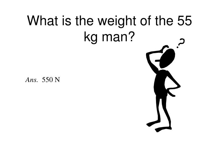 What is the weight of the 55 kg man?