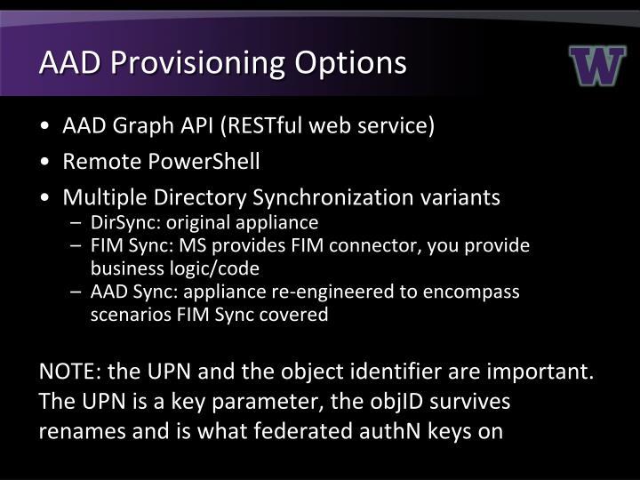 AAD Provisioning Options