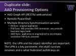 duplicate slide aad provisioning options