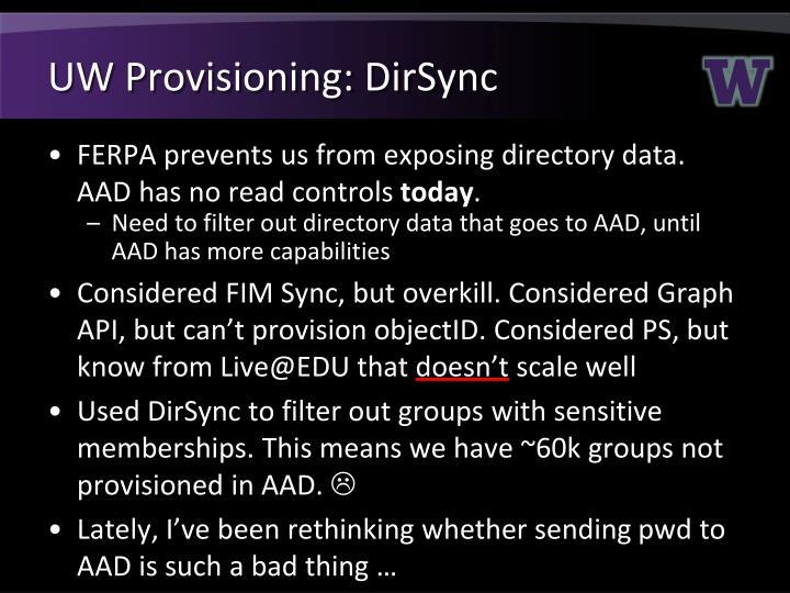 UW Provisioning: DirSync