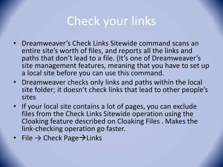 Check your links