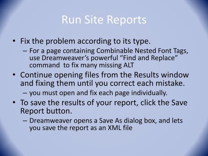 Run Site Reports