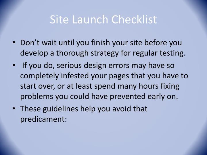 Site Launch Checklist