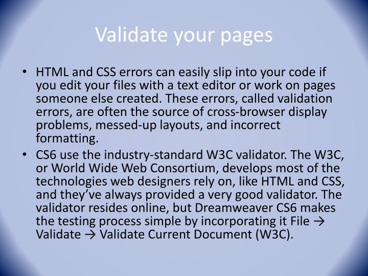 Validate your pages