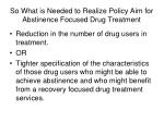 so what is needed to realize policy aim for abstinence focused drug treatment