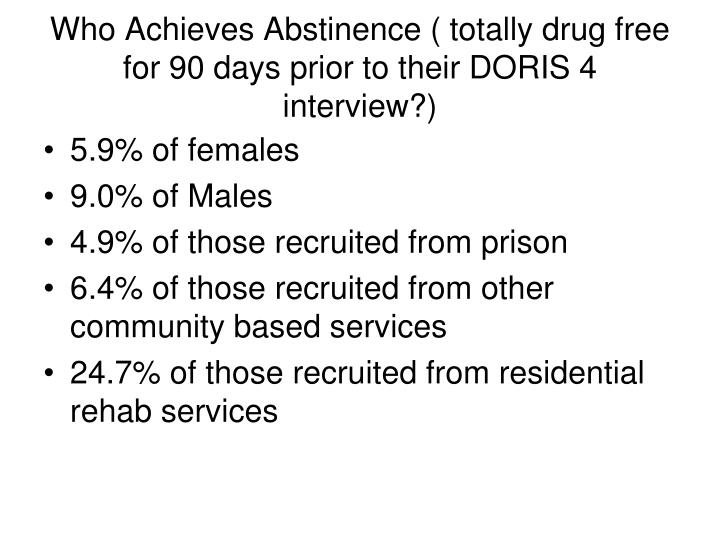 Who Achieves Abstinence ( totally drug free for 90 days prior to their DORIS 4 interview?)