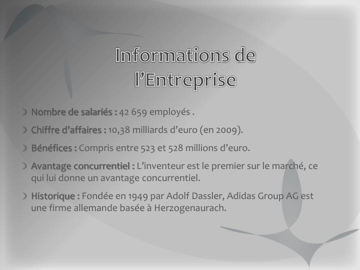 Informations de l'Entreprise