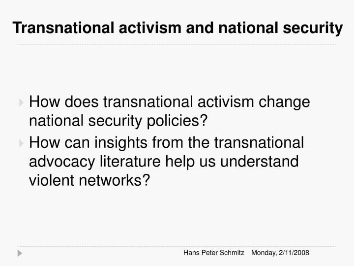 Transnational activism and national security