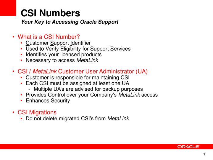 CSI Numbers