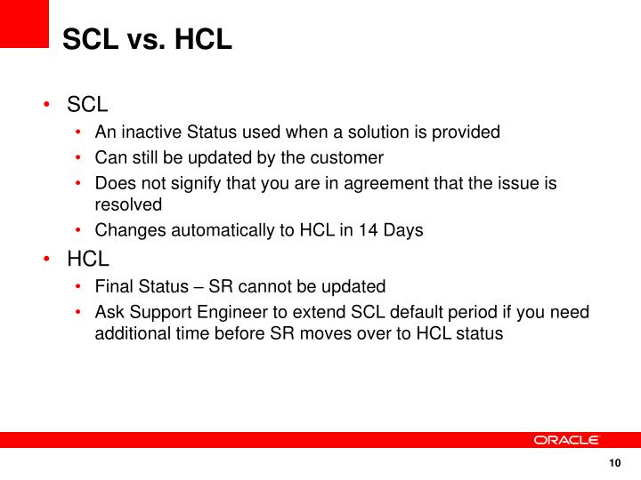SCL vs. HCL
