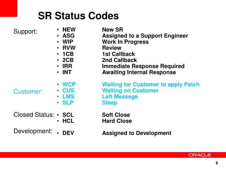 SR Status Codes
