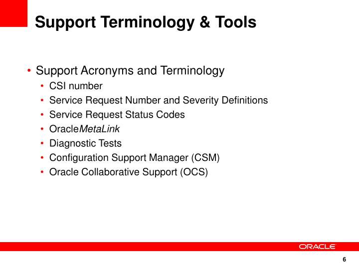 Support Terminology & Tools