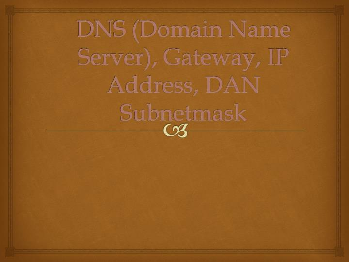 DNS (Domain Name Server), Gateway, IP Address, DAN