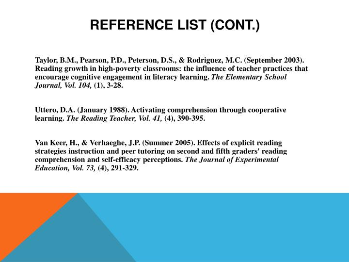 Reference List (Cont.)