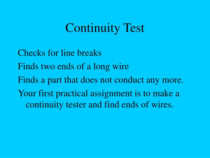 Continuity Test