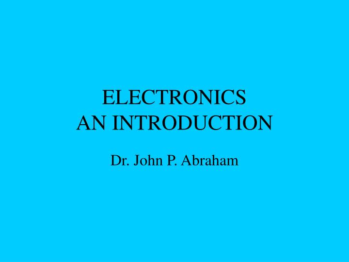 Electronics an introduction