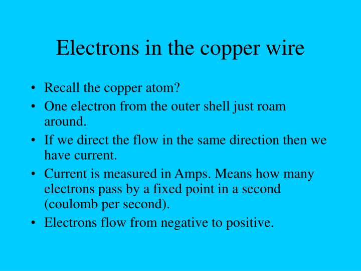 Electrons in the copper wire